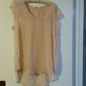 Woman's Daniel Rainn peach Swiss dot top sz L